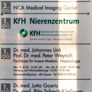 Nephrologische Praxis München-Unterhaching | Praxisschild